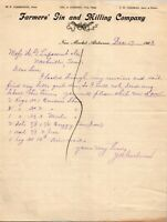 Vtg 1903 Farmers Gin and Milling CO New Market Alabama Letterhead Receipt Letter
