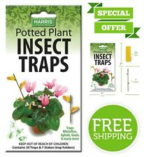 Harris 30 Potted Plant Insect Traps for Gnats Aphids Whiteflies Pesticide Free