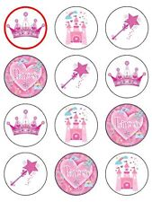 "12x Princess Party, Crown, Castle  2"" PRE-CUT PREMIUM RICE PAPER Cake Toppers"