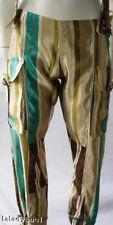 MARNI  Striped Flax & Silk Satin Pants w/Straps sz 42