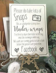 Snap Sign A4 Vintage, cream or white. Wedding / Party  A4 unplugged facebook