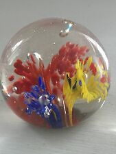 MURANO STUDIO ART GLASS YELLOW, RED & BLUE ABSTRACT CORAL FLECK PAPERWEIGHT