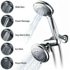 Bathroom Shower Head 2 in 1 Home Spray Water Rain Plumbing Handheld Combo Chrome