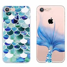 MERMAID SCALES TAIL STYLE TPU GEL BACK CASE COVER FOR IPHONE 8 8+ 7 7+ 6S 6+ SE