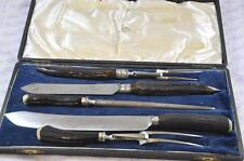 Great Walker and Hall Cased Stag & Sterling Silver Carving Set Sheffield 1923