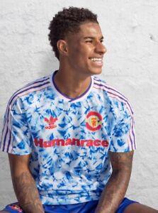 "Manchester United Humanrace Snowflake Iconic 90s Retro Jersey Man Utd Shirt 42"""