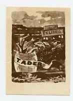 FISHING,  Ex libris Bookplate by Viktor Karrus, Estonia