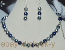 Beautiful 10mm Multicolor South Sea Shell Pearl Necklace Earrings Set