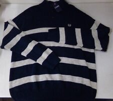 Mens Sz 2XL Chaps Button Neck Navy Blue & Gray Striped Winter Lodge Sweater NEW