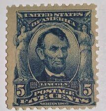 Travelstamps: 1902-03 US Stamps Scott # 304 Lincoln mint og lh 5 cents see scans