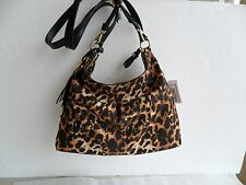 New  Vince Camuto Cris Leopard Nylon & Leather Convertible Backpack Hobo Bag