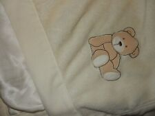 Ln 30x30 Vintage Carter's Ivory Teddy bear Plush Velour Satin baby crib Blanket