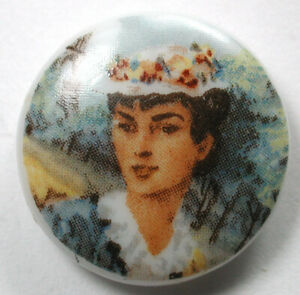 """Antique Porcelain Button Pretty Woman Pictorial Design  3/4"""""""