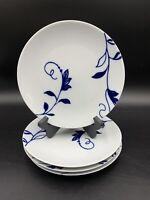 Crate and Barrel Spal Porcelain Salad Plates Portugal White Blue Flower Set 2