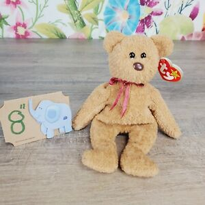 """Ty Beanie Babies Curly The Bear Plush 8"""" style #4052 PVC 1996 Retired"""