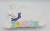 Easter Rabbit Bunny Hand Painted Plate Serving Dish Tray Bowl Palm Tree Co.