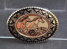 "NWOT Running Horses Belt Buckle Silver Tone Oxidation Design About 3 5/8"" G6"