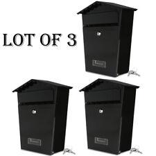 Lot of (3)SereneLife Weather-Resistant Indoor/Outdoor Wall Mount Locking Mailbox