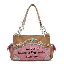 Purses Handbags Tan Pink Western Embroidered Bible Verse Satchel Bag Conceal ...