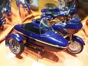 moto sidecar harley davidson bleu métallisée 1/18 maisto boite écornée