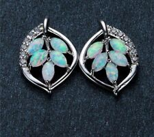 Delicate 925 Sterling Silver Filled White Fire Opal Leaf Shaped Stud Earrings