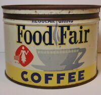 Vtg 1950s FOOD FAIR COFFEE GRAPHIC KEYWIND COFFEE TIN ONE POUND Detroit Michigan