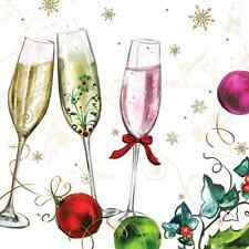 Christmas 20 Paper Lunch Napkins HAPPY NEW YEAR Eve Champagne Winter Bubbly