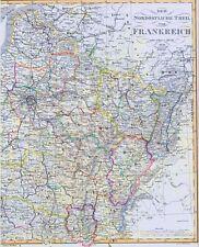 166 Jahre alte Landkarte Nord Frankreich Calais PARIS und 1836/51