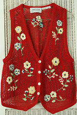 "JANTZEN Crocheted Waistcoat 37"" Bust S/M Hand-Embroidered Knitwear Floral Vest"