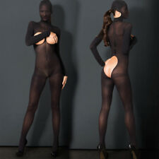 Sexy Crotchless MASK & CUFFS Fishnet BodyStocking Bodysuit Lingerie Nightwear