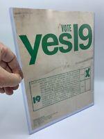 1st time on ballot!1972 YES ON 19,CA Marijuana Cannabis Hemp Weed RARE Ephemera