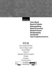 Rotel RCD-06 CD Player Owners Instruction Manual