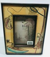 HAND PAINTED FISHING THEME WOODEN PICTURE FRAME 1999 NEW/UNUSED GREAT CONDITION!
