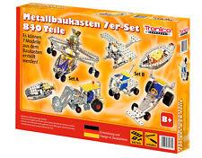 Tronico Metallbaukasten 7-in-1 Starter Einsteiger 840 Teile Fahrzeuge Kinder