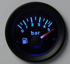 Manometro Strumento Road Retroilluminato Pressione Benzina BLU 0-5 BAR con SONDA