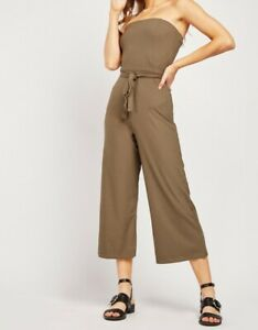 Ladies strapless Cropped Jumpsuit Womens New Ribbed Bandeau Off-the-shoulder Plu