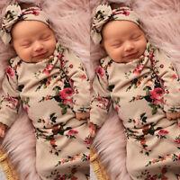 USA Newborn Baby Floral Swaddle Wrap Swaddling Sleeping Bag Blanket Headband Set