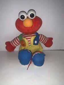 Playskool Vintage 1993 Dress Me Up Elmo.14 IN Button - Zip - Tie Buckle - Snap