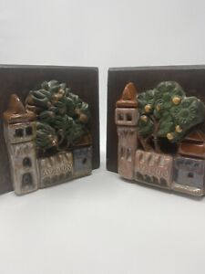 """Catalina Island Pottery Inspired """"Avalon"""" Tile Bookends c.1930s"""