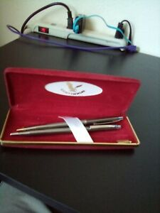 Vintage Centennial Gold Pen & Pencil Set With Case Box