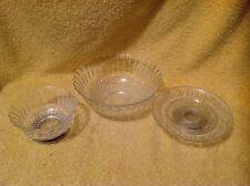 Vtg Lot Of 3 Kig Indonesia Fleur deLis Glass Veg Bowl Sil Metal Ftd Bowl & Plate