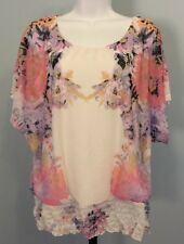 Maurice's Semi Sheer Floral Blouse Bohemian Batwing Internal Cami Sz Medium