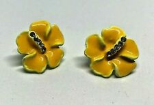 Vintage Ceramic Enamel Yellow Flower Rhinestone Diamante Earrings 1980'