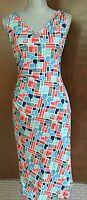 DIANE VON FURSTENBERG DVF Logo Print Silk Bodycon Sleeveless V Neck Dress Size 4