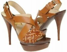 EUC w/box MICHAEL KORS womens Juniper platform leather heels shoes in Teak sz8.5