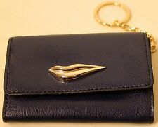 NWT DVF Small Navy Blue Leather Lips Card Case with a Key Ring