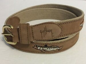 Guy Harvey Leather on Canvas Belt 4 Embroidered Fish Size 40 - Free Shipping