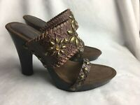 Amanda Smith Women's Size 6 M Heels Slides Western Sandals Brown Studded shoes