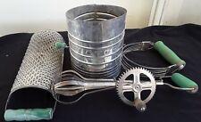 Vintage Collection of 4 Green Wood Handle Kitchen Utensils Sifter Mixer Blender