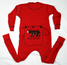 BEAR black paw thermal union suit SMALL underwear pajama red long gay patch
